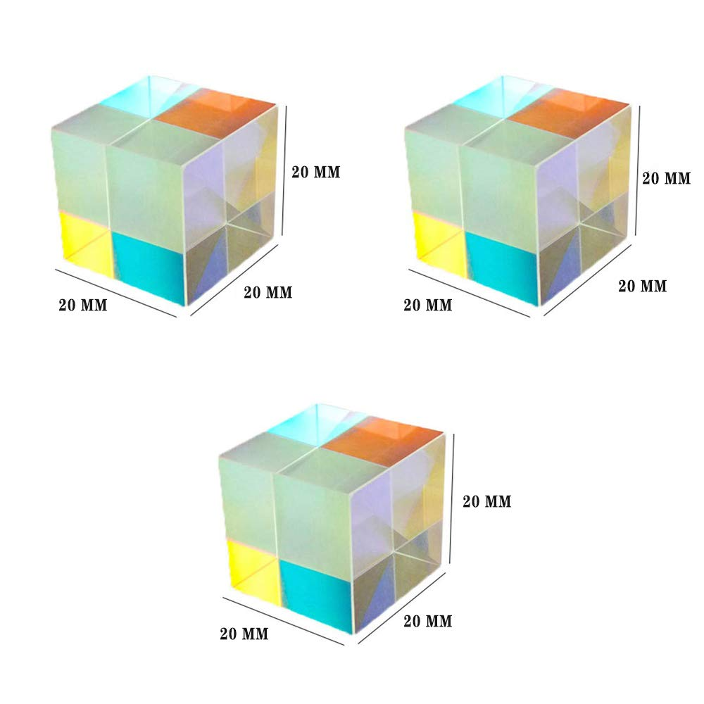20 MM X-Cube RGB Prism Dispersion Prism,Glass Cube Prism,for Physics and Decoration 3pcs