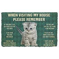 ドアマット3D印刷フロアマット屋外マットリビングルームmat3D覚えておいてくださいスコットランドの折り畳み子猫猫の家のルールカスタムドアマット子猫マットバスルームマット屋内屋外マット