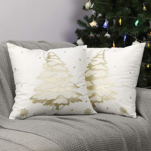 Lewondr Funda de Almohada de Navidad de Cojín Suave, [2 Piezas] 45CM * 45CM Funda de Almohada con Árbol de Navidad de Fibra de Poliéster, Decoración Ideal para el Hogar y Cafetería, Oro