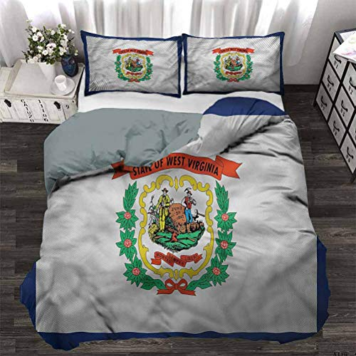 painting-home Quilt Cover Set American, State of West Virginia Duvet Quilt Comforter Cover Workmanship and Stitching are Very Meticulous Full - 80 x 90 Inch
