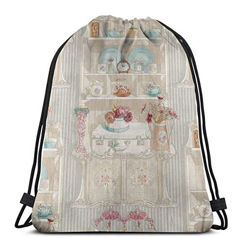 QUEMIN Frohe Ostern Kordelzug, englische Teetassen Tote Rucksack Sackpack für Erwachsene Gym Sack Bag für Gym Schwimmen Toilettenartikel Aufbewahrungstasche