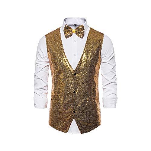 Men's Sequin Vest Shiny Suit Vest V-Neck Party Dress Waistcoat with Bowtie