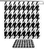 Mädchen Bad Duschvorhang Black White Ho&s Zahn Lange Duschvorhänge Badteppich & Duschvorhang 2 Set mit 12 Haken für Master-Badezimmer, Kinderbad, Gästebad