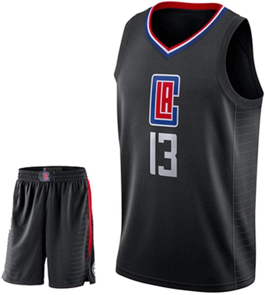 GFENG Maillots De Basketball Unisex Basket Maillots Clippers 2# Leonard Tissu Brod/é Basketball T-Shirt Jersey Et Short Ensemble De Maillot pour