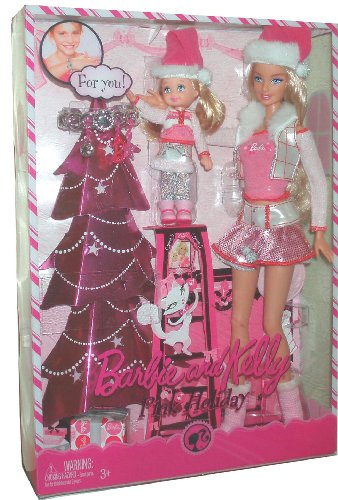 Barbie 2008 Pink Holiday Series 2 Pack Doll Set - Barbie and Kelly in Holiday Outfits Plus Bonus Bracelet Just For You (P9341)