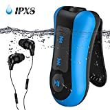 AGPTEK Swimming MP3 Players Underwater Waterproof IPX8, 8GB Music Players with Clip