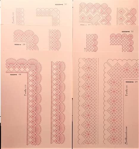 Surtido de patrones para puntillas de encaje de bolillos