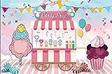 EdCott 9x6ft Tienda golosinas Gota para Espalda Cupcakes Jugo Helado Carrito Telón Fondo Niños Fiesta cumpleaños cumpleaños Eventos Fotografía Piso Rayas Fondo Foto Cortinas Papel Tapiz Cabina