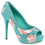 Leonardo Shoes Zapatos de salón con Tacones de Aguja Abiertos Hechos a Mano para Mujer en napa Azul Claro con Strass y Flores Rosas - Número de Modelo: G5SI93 Strass Celeste - Tamaño: 39.5 EU