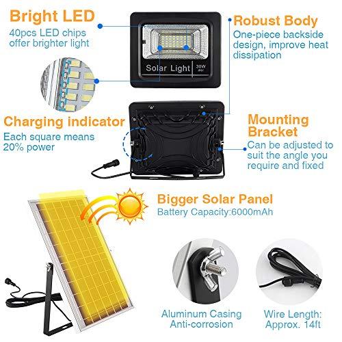 Yorklen 30W LED Solar Flood Lights Outdoor, Dusk to Dawn Solar Powered Street Light with Remote Control, 800 Lumen, IP67 Waterproof, for Yard, Garden, Garage, Pathway, Barn, Street (Cool White)