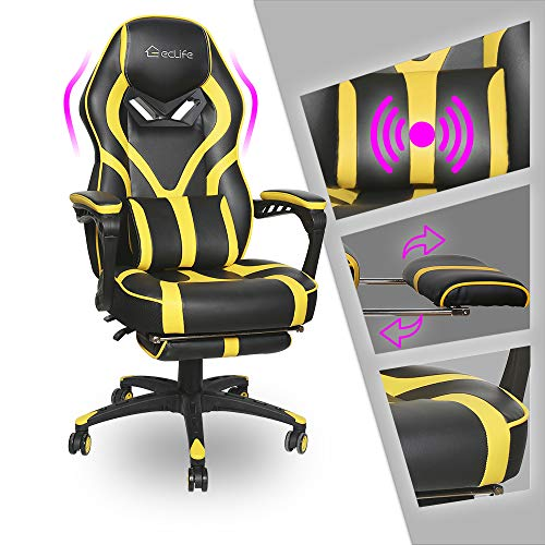 LUCKWIND Video Gaming Chair Racing Recliner - Ergonomic Adjustable Padded Armrest Swivel High Back Footrest Headrest Lumbar Support PU Leather Breathable Seat Cushion Home Office Massage(Black Yellow)