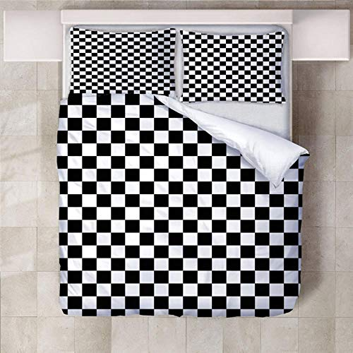 PERFECTPOT Duvet Cover Set King Size Mosaic Pattern Bedding Set with Zipper Closure Hypoallergenic Microfiber Quilt Cover Sets 230 x 220 cm with 2 Pillowcases 50x75cm