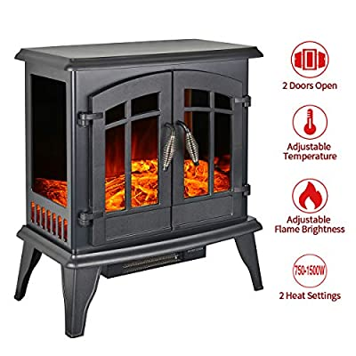 "23"" Electric Fireplace Heater,1500W Freestanding Stove Portable Fireplace Heater with Realistic Log Frame, Black"