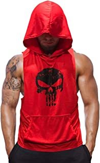 SZKANI 3 Packs Mens Skull Print Sleeveless Fitness Vest Bodybuilding Stringers Workout Tank Tops