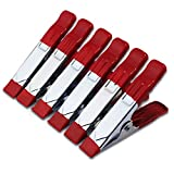ESUMIC 6 x 4 A Grip Holder Punta metálica revestida de Goma de Resorte Abrazaderas para Acampar Lona Rojo