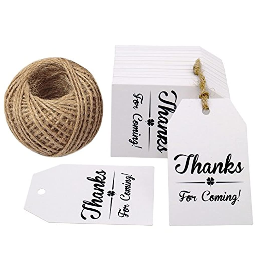Original Design Thanks for Coming Tags 100 PCS Kraft Tags,Paper Gift Tags with 100 Feet Natural Jute Twine Perfect for Baby Shower,Wedding Party Favor
