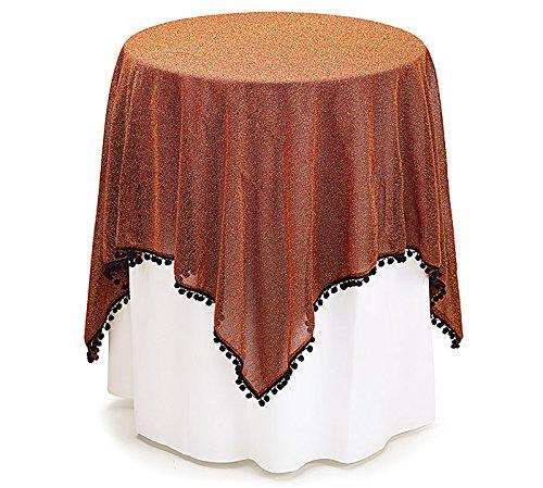tablecloth orange shimmer with black trim halloween party gift decoration on line. Black Bedroom Furniture Sets. Home Design Ideas