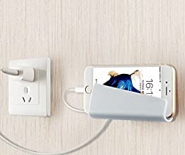 Wall Mount Phone Holder, Wall Phone Stand (3 colors) Dock Phone Charging Support Convenience, Charging Holder for iPhone, iPad and More Other Smartphones, Phone Holder on Tables and Desks (White)