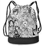 YUYUTE Borse da palestra, Zaini, Ahegao Face Print Drawstring Backpack Travel Sport Yoga Gym Sack Bag Outdoor Bundle Backpack Laptop Bag Beach Rucksack for Men/Women