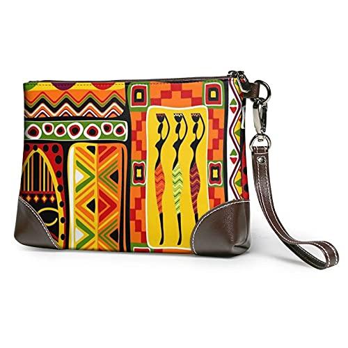 XCNGG Afrikanische gestreifte bedruckte Clutch Geldbörse Abnehmbare Leder Wristlet Wallet Bag Damen Handtasche