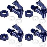 Yaomiao 4 Pieces BPA-Free Replacement Cooler Faucet Water Bottle Jug, Dispenser Tap Set, Reusable Spigot Spout Water Beverage Lever Pour Dispenser Valve Water Crock Tap (Deep Blue)