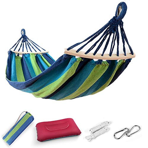 EASY EAGLE Outdoor Cotton Hammock with 60CM Wooden Rods, 220x120CM Hammock with Inflatable Pillow for Garden Yard Camping Beach Patio, Load 300KG, Green-blue Stripes