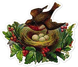 Robin With Nest In Holly Tree - Vintage Holiday Painting - Vinyl Decal Sticker - 4.35