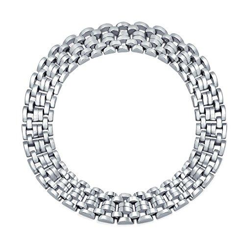 Bling Jewelry Breite Panther Collier Halsband Statement-Halskette Für Damen Massiv Messing Poliert 18 Zoll