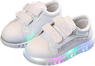 Coromose Children Leisure White Sports Soft Bottom Shoes with LED lights for Boys and Girls