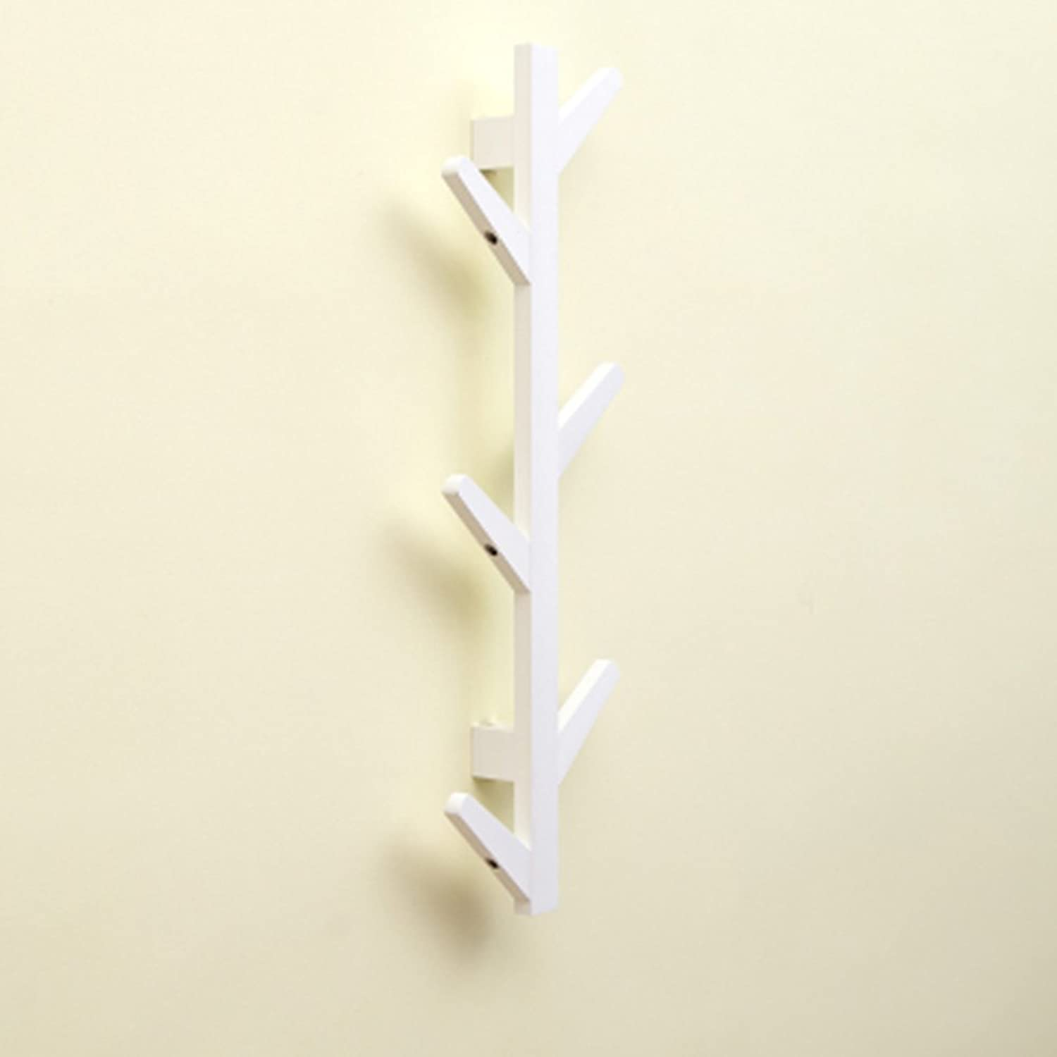 JIANFEI Wall Mounted Coat Rack Tree Shape Hook Up Rounded Corners Anti-Collision Bamboo, 3 colors (color   White color, Size   22  7  78cm)