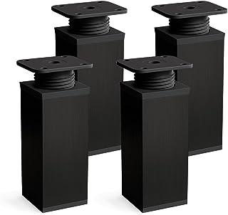 Patas para muebles, 4 piezas, altura regulable | Perfil cuadrado: 40 x 40 mm | Sossai® MFV1-BL100-4 | Diseño: Negro | Altura: 100mm (+20mm) | Tornillos incluidos