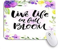 ECOMAOMI 可愛いマウスパッド 満開の生活心に強く訴える水彩画の花と筆書道 滑り止めゴムバッキングマウスパッドノートブックコンピュータマウスマット