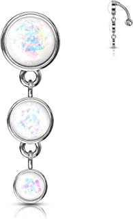Amelia Fashion 14G Triple Round Glitter Opal Vertical Top Drop Belly Button Navel Ring 316L Surgical Steel (Choose Color)