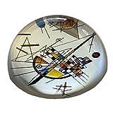 Parastone - Fermacarte moderno in vetro, a cupola, da scrivania, PKAN1, motivo: Kandinsky