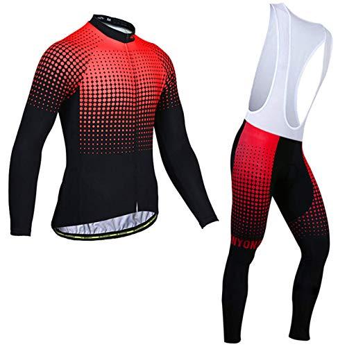 Mikelabo Ciclismo Hombres Jersey + Pantalones Largos Culote Mangas Largas de Ciclismo Invierno Hombre 3D Acolchado Gel Ropa Bicicleta Hombre Maillot Ciclismo con Mangas Largas
