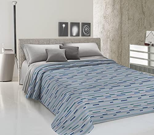 HomeLife Colcha para cama de matrimonio primaveral y verano de piqué [260 x 280] Made in Italy | Colcha para cama de matrimonio de algodón con estampado a rayas | Sábana bajera ligera | 2P azul