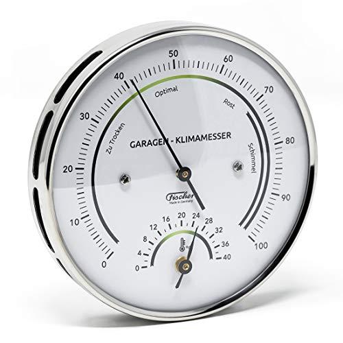 Fischer - Climatizzatore per Garage con Cassa in Acciaio Inox, 100 mm, igrometro Sintetico, termometro, analogico, Made in Germany