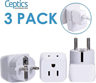 Ceptics Schuko, Germany, France, Russia Travel Adapter Plug Type E/F (3 Pack) USA to Europe - Dual Inputs - Ultra Compact - CT-9 - Safe Grounded Perfect for Cell Phones, Laptops, Camera Chargers