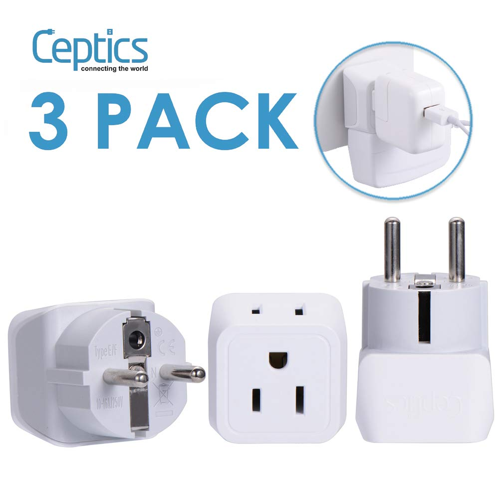 OREI WP-EF-GN Wonpro Universal 2-in-1 Schuko Plug Adapter Type E//F 2 Pack
