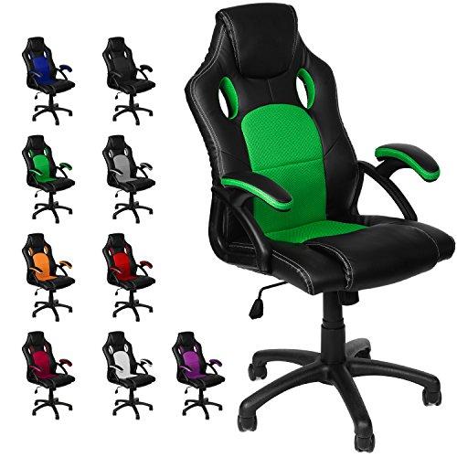 Gamer Stuhl Gaming Schreibtischstuhl Chefsessel Bürostuhl Ergonomisch, Grün, 9 Farbvarianten, gepolsterte Armlehnen, Wippmechanik, belastbar bis 150 kg, Lift TÜV geprüft, Panorama24