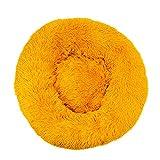 Decdeal Caseta para gatos suave para perros y gatos, base impermeable, antideslizante, lavable, para perros y gatos, 70 cm, color amarillo