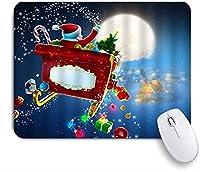 KAPANOU マウスパッド、おとぎ話のクリスマスイブサンタクロースの魔法のそりギフトを送るシーンプリント おしゃれ 耐久性が良い 滑り止めゴム底 ゲーミングなど適用 マウス 用ノートブックコンピュータマウスマット