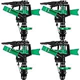 10. 1/2 Inch Plastic Impact Sprinklers Adjustable 0 Degree to 360 Degree Pattern Plastic Sprinkler Head for Garden Watering Supplies (4 Pieces)