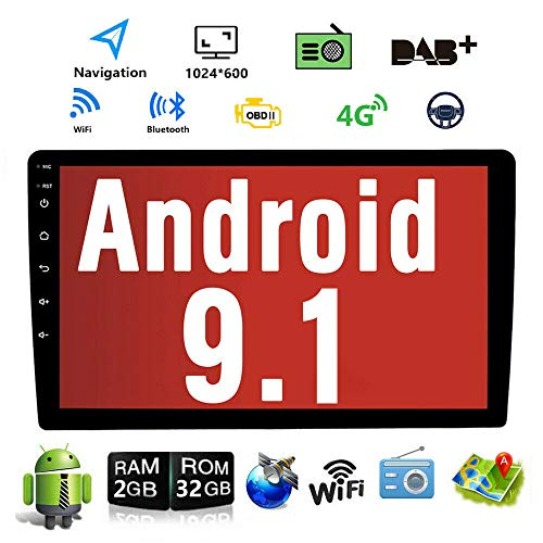 Android 9.1 10.1 Inch Touch Screen 2Din Car Multimedia Radio GPS Navigation in-Dash Car Stereo MP5 Player Autoradio with WiFi Bluetooth USB OBD (2G RAM+16G ROM) (2G RAM+32G ROM)