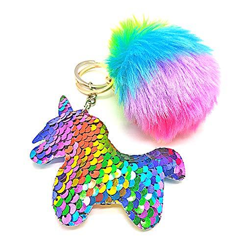 QearFun personalisierte Einhorn Schlüsselanhänger für Mädchen und Plüsch Fluffy Rainbow Fur...
