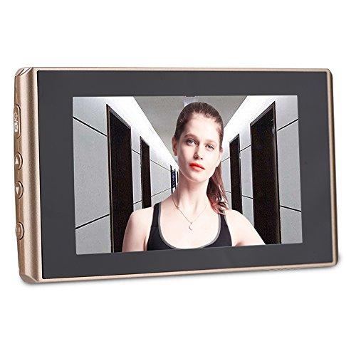 Cámara de Mirilla, 4300E 4.3 Pulgadas Visor Digital de Puerta LCD con Lente Gran Angular de 160 ° Función de Vsión Nocturna Batería Incorporada de 1500 mAh Soporte para Tarjeta Mi