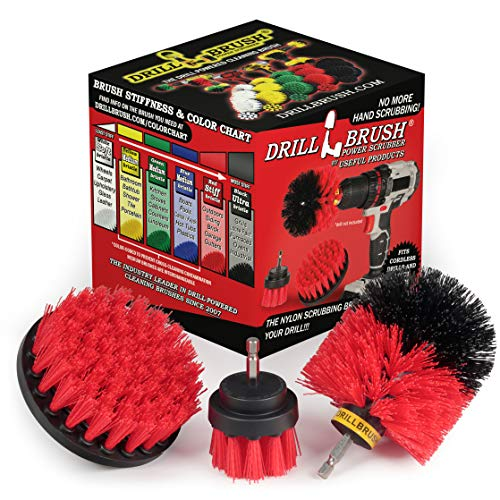 Drill Brush Power Scrubber by Useful Products Drill Power Heavy Duty Stiff Bristle Scrub Brush Cleaning Kit – Concrete and Siding Cleaner Drill Brushes – Hard Water Stain Remover Brush for Drill