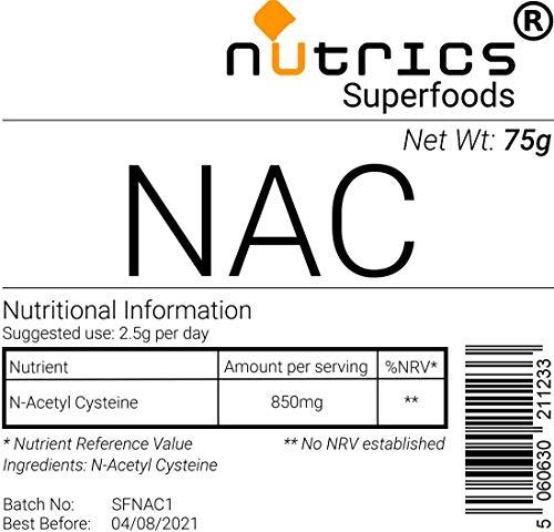 Nutrics® 100% Zuiver NAC N Acetyl L CYSTEINE 75g Farmaceutisch Rangpoeder - Nutrics Superfoods