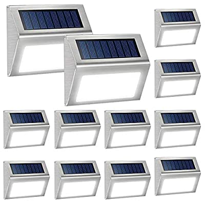 12 Pack Solar Powered Deck Lights Wireless Bright LED Stair Lights Auto On/Off Waterproof Stainless Steel Decorative Outdoor Step Lighting for Driveway Fences Pathway Staircase (White Light)