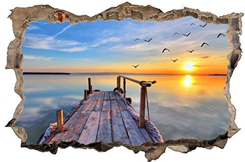 Steg Sonnenuntergang See Landschaft Wandtattoo Wandsticker Wandaufkleber D0323 Größe 40 cm x 60 cm